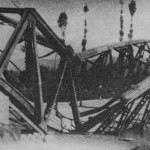 The bridge destroyed by the Chetniks in Vranje piling on the line to Thessaloniki