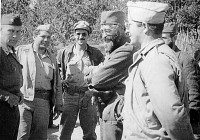 General Mihailovic with the representatives of the American military (from left to right): Colonel Robert McDowell (Ranger Mission), Captain George Muslin and Captain Nick Lalic (Halyard Mission).