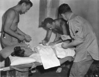 Halyard Mission, 2. Sept 1944: Capt. J. H Mitrani operates on a wounded Chetnik.