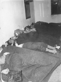 Halyard Mission, 13. Sept 1944: ''American Airmen sleeping in Hay Lofts with 'insects' for company'' (J. B. Allin)