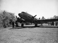 Halyard Mission, 17. Sept 1944, Koceljeva, Serbia: ''The first C47 to land ended up in the bushes at the end of the field''. (J. B. Allin)