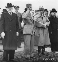 On Allied territory during the war- left to right: Yugoslav Prime Minister, academician Slobodan Yovanovic, King Peter II, President of Czechoslovakia Eduard Benesh.